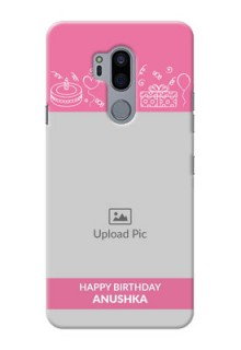 LG G7 Thinq Custom Mobile Cover with Birthday Line Art Design