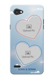 LG Q6 Plus couple heart frames with sky backdrop Design