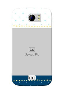 Micromax Canvas 2 Plus White And Blue Abstract Mobile Case Design