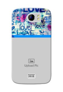 Micromax Canvas 2 Plus Colourful Love Patterns Mobile Case Design
