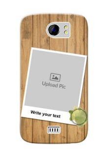 Micromax Canvas 2 Plus 3 image holder with wooden texture  Design