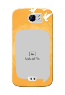Micromax Canvas 2 Plus watercolour design with bird icons and sample text Design Design