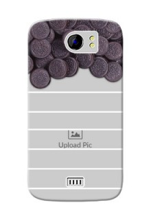 Micromax Canvas 2 Plus oreo biscuit pattern with white stripes Design Design