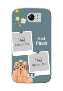 Micromax Canvas 2 3 image holder with sticky frames and friendship day wishes Design