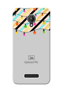 Micromax Canvas Spark diagonal stripped pattern with hanging lights Design