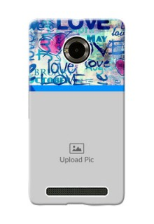 Micromax Yuphoria Colourful Love Patterns Mobile Case Design