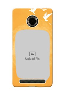 Micromax Yuphoria watercolour design with bird icons and sample text Design Design
