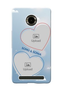 Micromax Yuphoria couple heart frames with sky backdrop Design