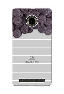 Micromax Yuphoria oreo biscuit pattern with white stripes Design Design