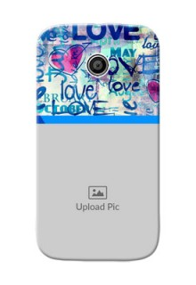 Motorola E Colourful Love Patterns Mobile Case Design