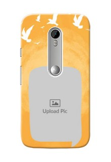Motorola G Turbo watercolour design with bird icons and sample text Design Design