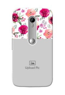 Motorola G Turbo watercolour floral design with retro lines pattern Design
