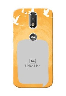 Motorola G4 watercolour design with bird icons and sample text Design Design