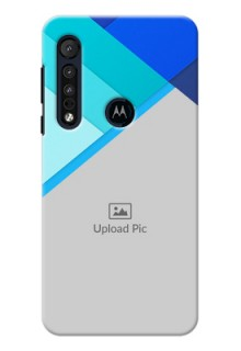 Motorola G8 Play Phone Cases Online: Blue Abstract Cover Design