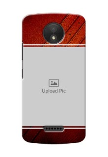 Motorola Moto C Plus Leather Design Picture Upload Mobile Case Design