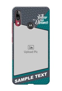 Motorola E6 Plus Back Covers: Background Pattern Design with Quote