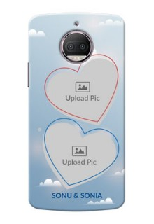 Motorola Moto G5S Plus couple heart frames with sky backdrop Design