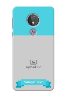 Moto G7 Power Personalized Mobile Covers: Simple Blue Color Design