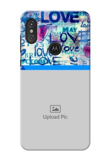 Motorola One Power Mobile Covers Online: Colorful Love Design