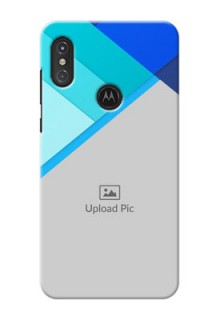 Motorola One Power Phone Cases Online: Blue Abstract Cover Design