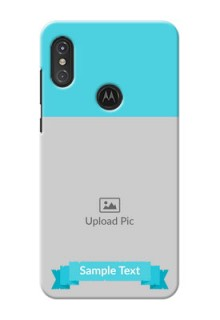 Motorola One Power Personalized Mobile Covers: Simple Blue Color Design