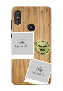 Motorola One Power Custom Mobile Phone Covers: Wooden Texture Design