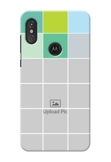 Motorola One Power personalised phone covers with white box pattern