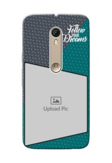 Motorola Moto X Style 2 colour background with different patterns and dreams quote Design