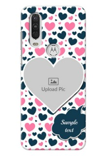 Motorola One Action Mobile Covers Online: Pink & Blue Heart Design