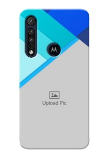 Motorola One Macro Phone Cases Online: Blue Abstract Cover Design