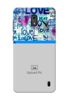 Nokia 2 Colourful Love Patterns Mobile Case Design
