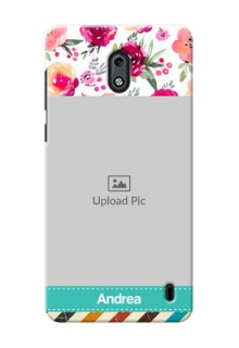 Nokia 2 watercolour floral design with retro lines pattern Design