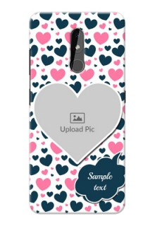 Nokia 3.2 Mobile Covers Online: Pink & Blue Heart Design