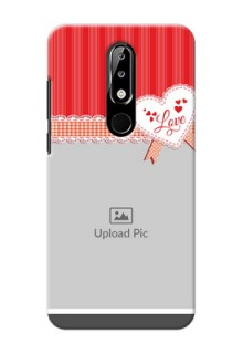 Nokia 5.1 plus phone cases online: Red Love Pattern Design