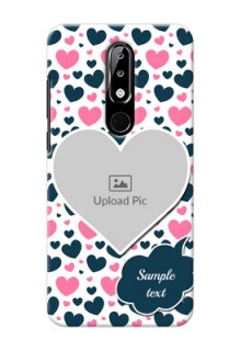 Nokia 5.1 plus Mobile Covers Online: Pink & Blue Heart Design