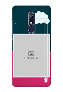 Nokia 5.1 custom phone covers: Cute Girl with Cloud Design