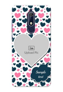 Nokia 5.1 Mobile Covers Online: Pink & Blue Heart Design