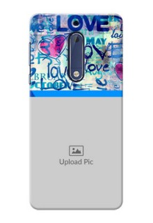 Nokia 5 Colourful Love Patterns Mobile Case Design