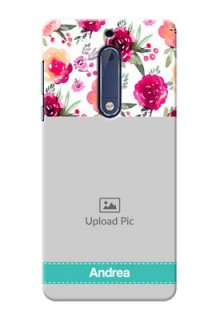 Nokia 5 watercolour floral design with retro lines pattern Design