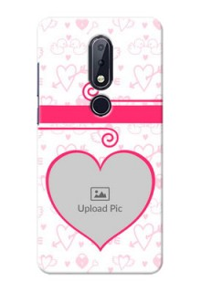 Nokia 6.1 Plus Personalized Phone Cases: Heart Shape Love Design