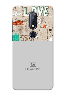 Nokia 6.1 Plus Personalised mobile covers: Love Doodle Pattern