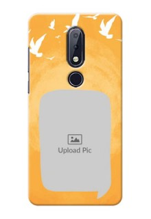 Nokia 6.1 Plus Phone Covers: Water Color Design with Bird Icons