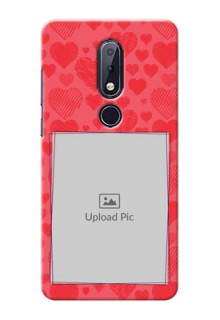 Nokia 6.1 Plus Mobile Back Covers: with Red Heart Symbols Design