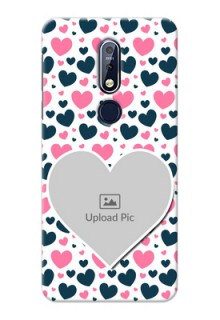 Nokia 7.1 Mobile Covers Online: Pink & Blue Heart Design