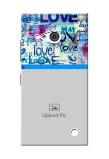 Nokia 730 Colourful Love Patterns Mobile Case Design