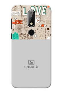 Nokia X6 Personalised mobile covers: Love Doodle Pattern