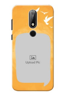 Nokia X6 Phone Covers: Water Color Design with Bird Icons