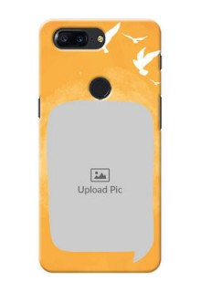 One Plus 5T watercolour design with bird icons and sample text Design Design