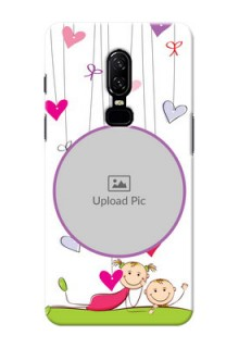 One Plus 6 Cute Babies Mobile Cover  Design