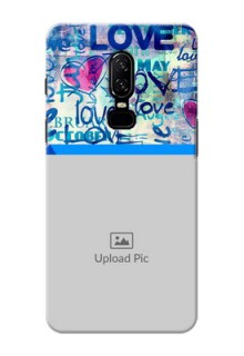 One Plus 6 Colourful Love Patterns Mobile Case Design